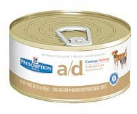 Hill's a/d canned food to make a liquid diet for dogs and cats.