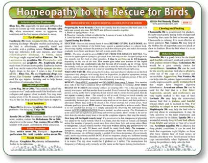 Avian Homeopathy Chart